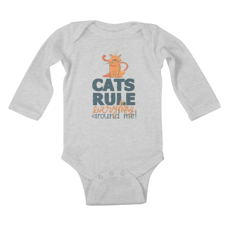 Cats Rule Everything Around Me Kids Baby Longsleeve Bodysuit by Purrform