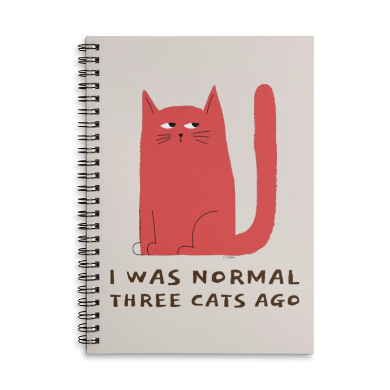 I Was Normal Three Cats Ago Accessories Lined Spiral Notebook by Purrform