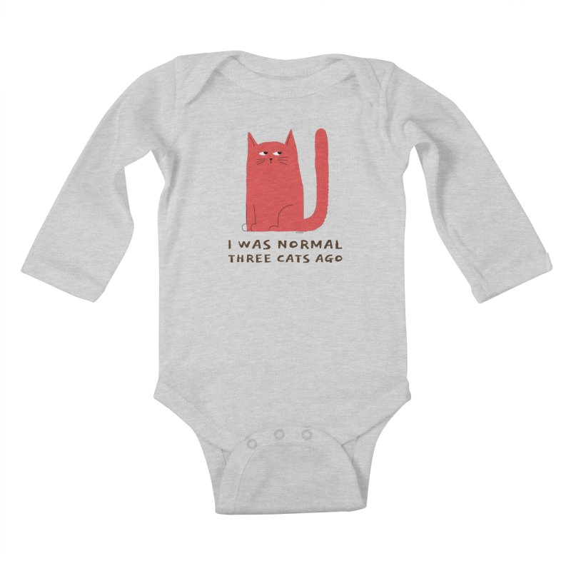 I Was Normal Three Cats Ago Kids Baby Longsleeve Bodysuit by Purrform