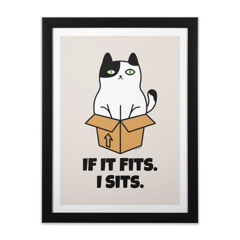 If It Fits I Sits Home Framed Fine Art Print by Purrform