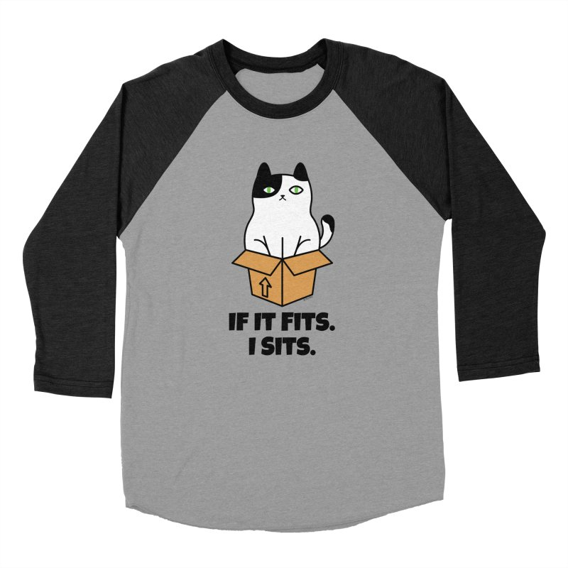 If It Fits I Sits Men's Baseball Triblend Longsleeve T-Shirt by Purrform