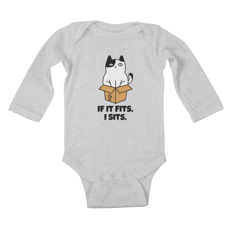 If It Fits I Sits Kids Baby Longsleeve Bodysuit by Purrform
