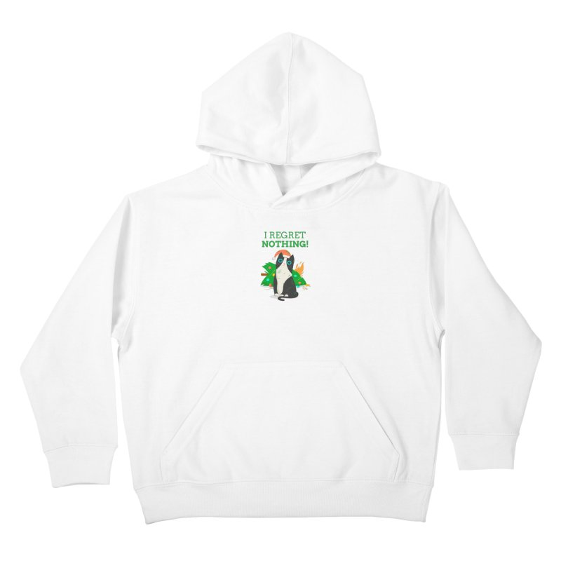 I Regret Nothing Kids Pullover Hoody by Purrform