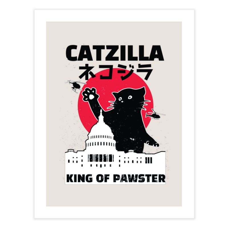 Catzilla Home Fine Art Print by Purrform