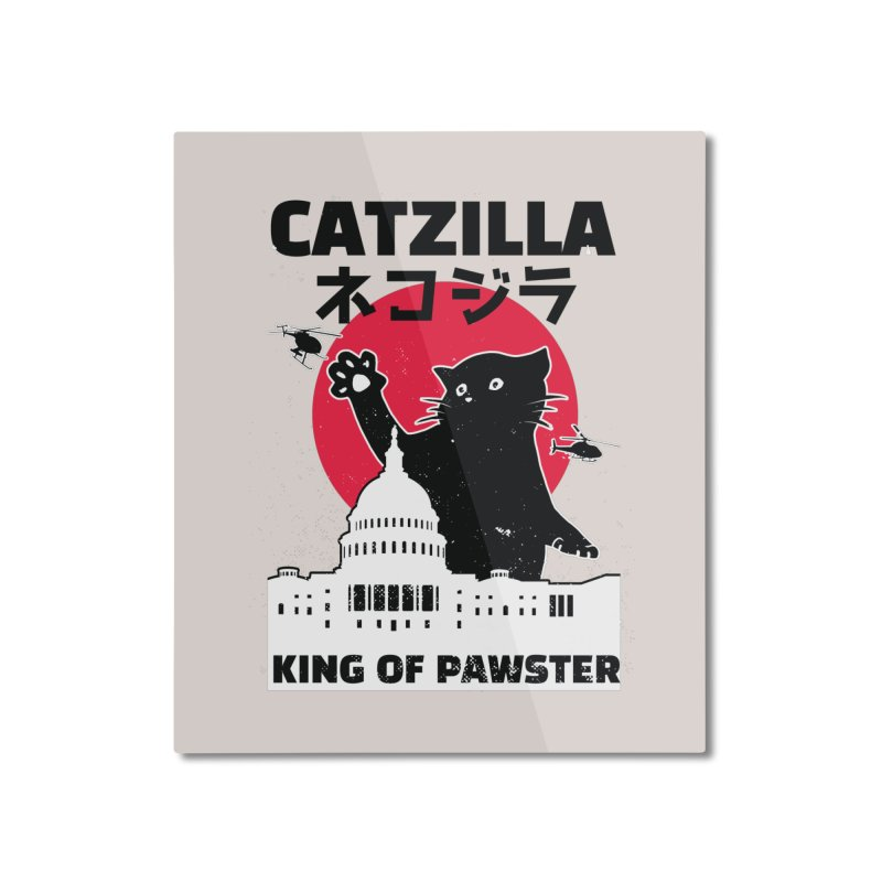 Catzilla Home Decor Mounted Aluminum Print by Purrform
