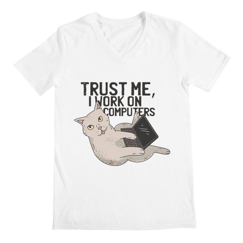 Computer Cat Men's V-Neck by Purrform