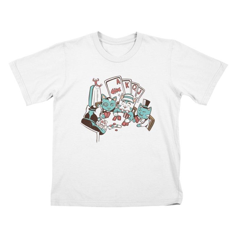 Poker Cats Kids T-Shirt by Purrform