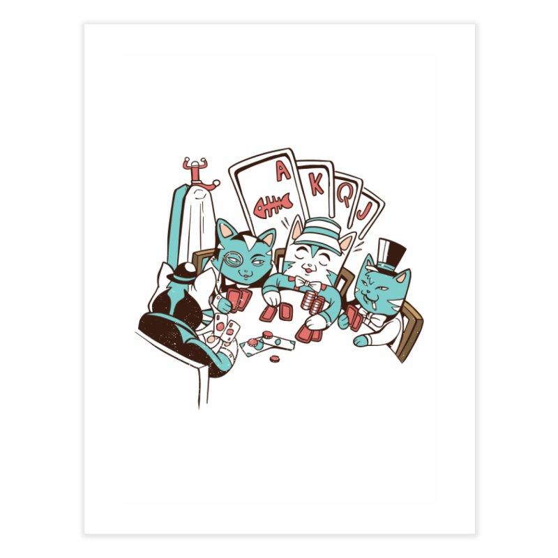 Poker Cats Home Fine Art Print by Purrform