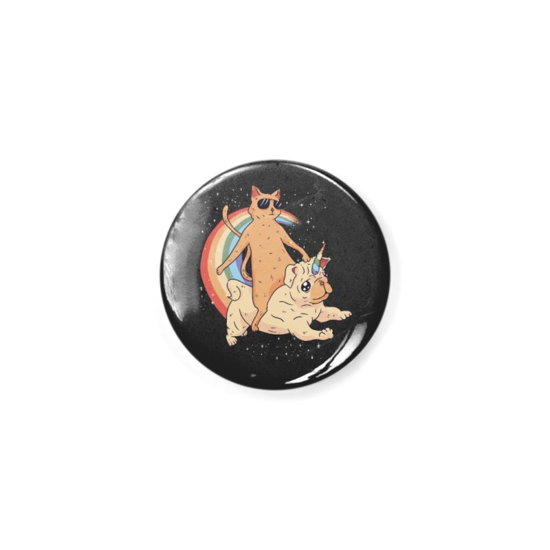 Cat Riding a Bulldog Unicorn Accessories Button by Purrform