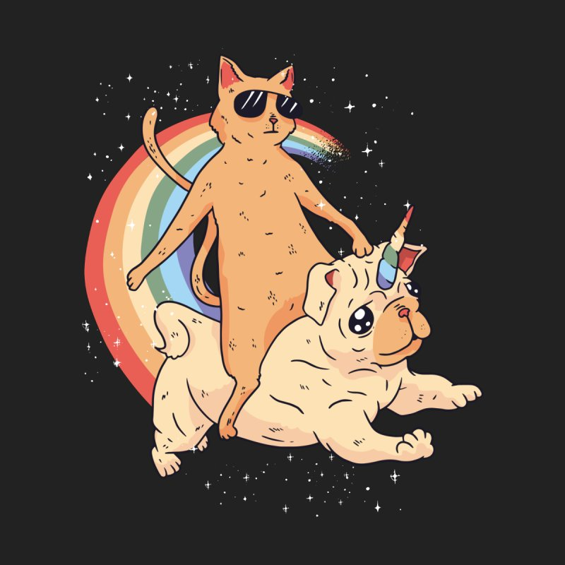 Cat Riding a Bulldog Unicorn Accessories Sticker by Purrform