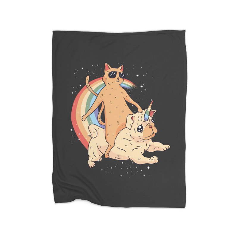 Cat Riding a Bulldog Unicorn Home Blanket by Purrform