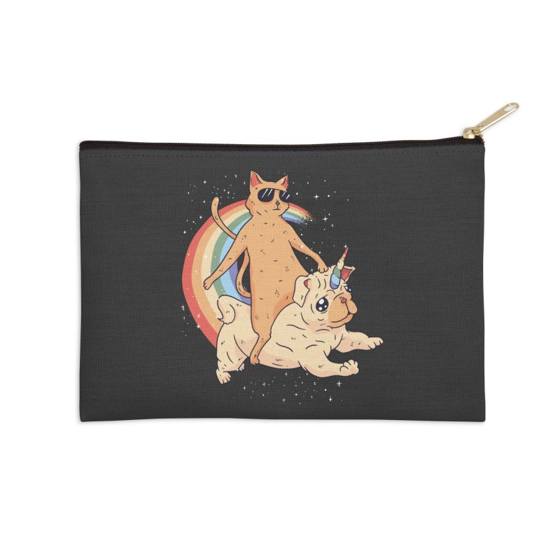 Cat Riding a Bulldog Unicorn Accessories Zip Pouch by Purrform