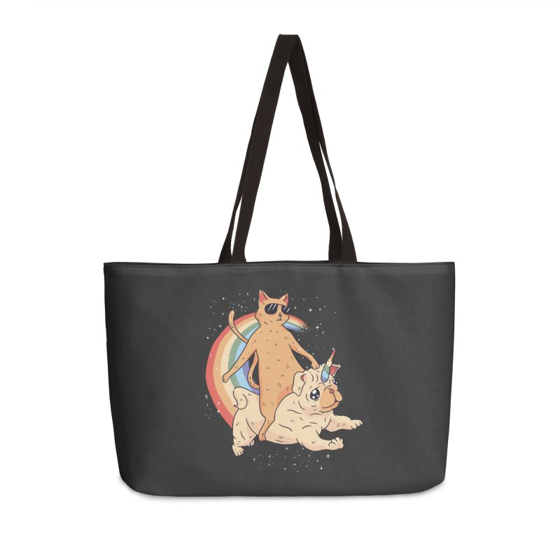 Cat Riding a Bulldog Unicorn Accessories Bag by Purrform