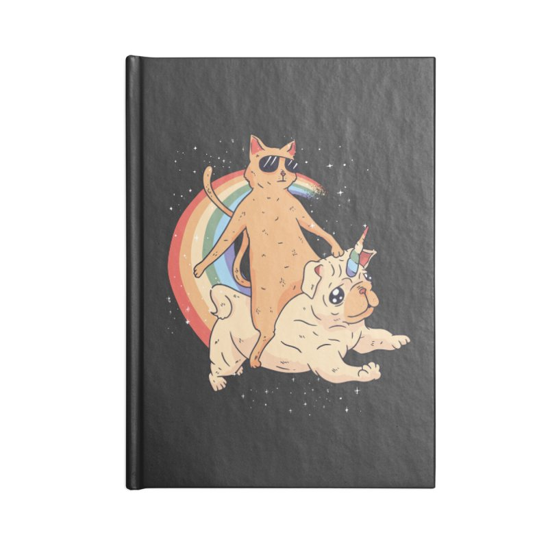 Cat Riding a Bulldog Unicorn Accessories Notebook by Purrform