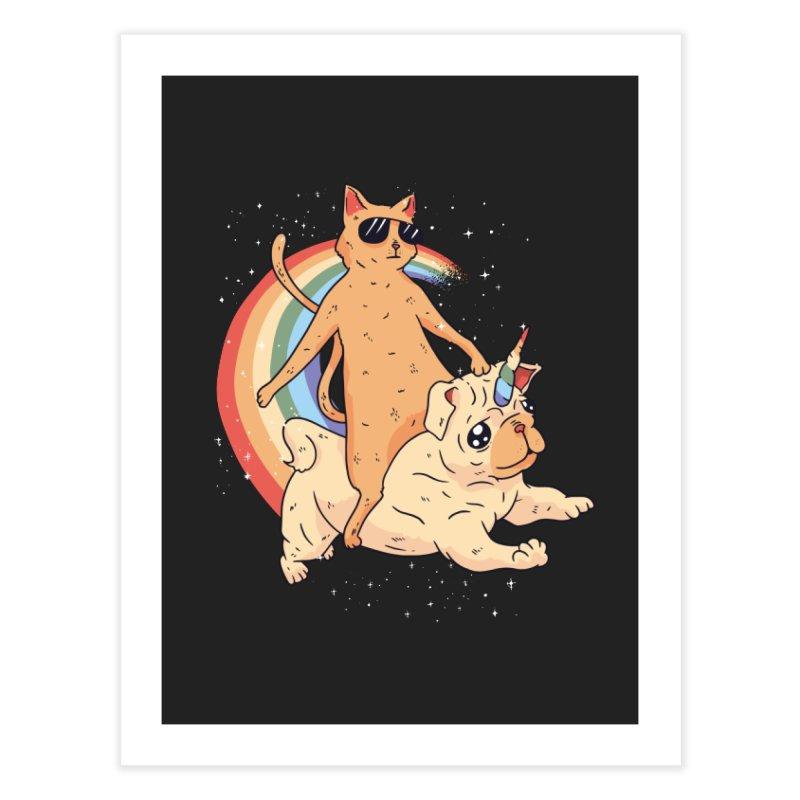 Cat Riding a Bulldog Unicorn Home Fine Art Print by Purrform