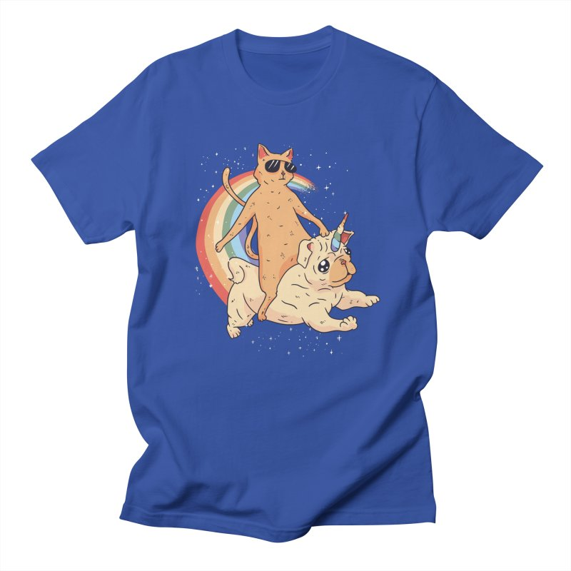 Cat Riding a Bulldog Unicorn Men's T-Shirt by Purrform