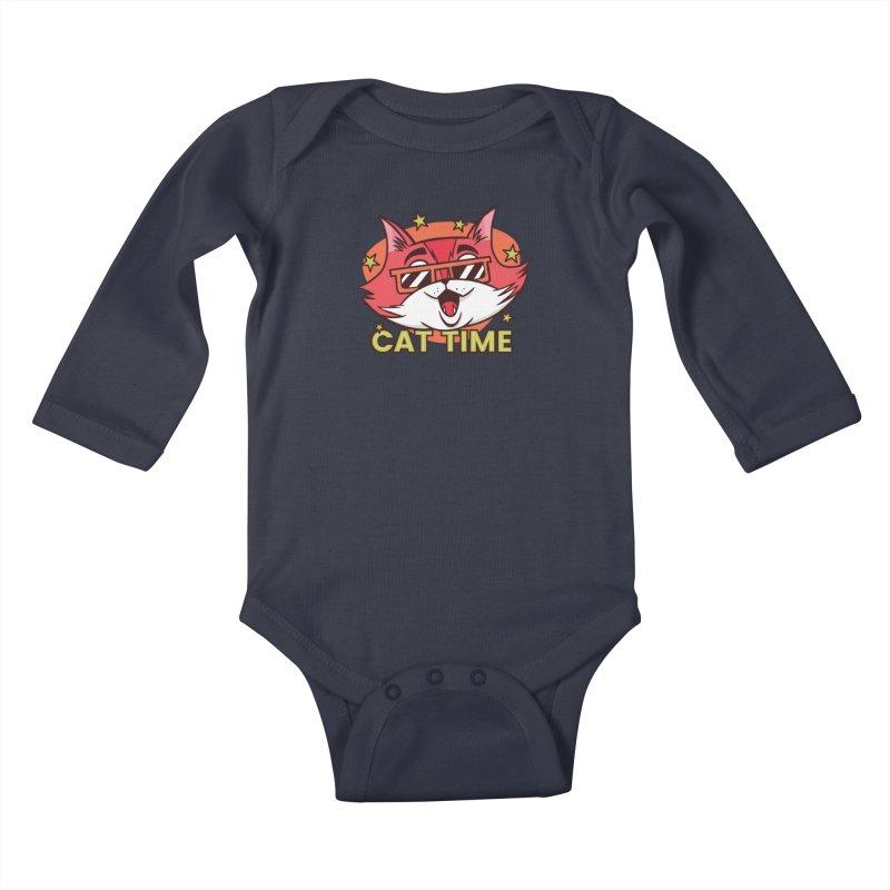 Cat Time Kids Baby Longsleeve Bodysuit by Purrform