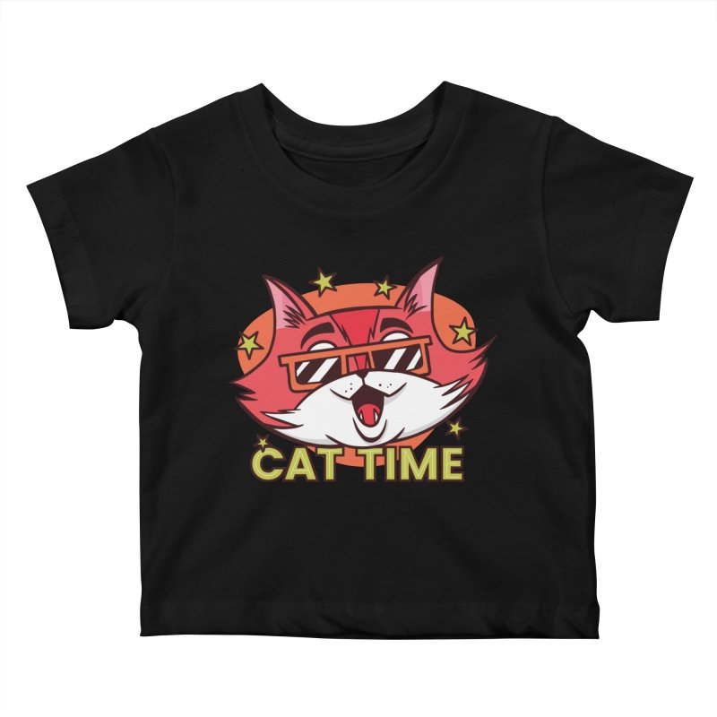 Cat Time Kids Baby T-Shirt by Purrform
