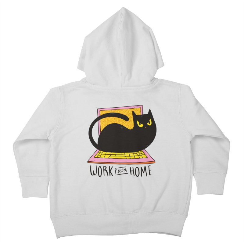 Work From Home Cat Kids Toddler Zip-Up Hoody by Purrform