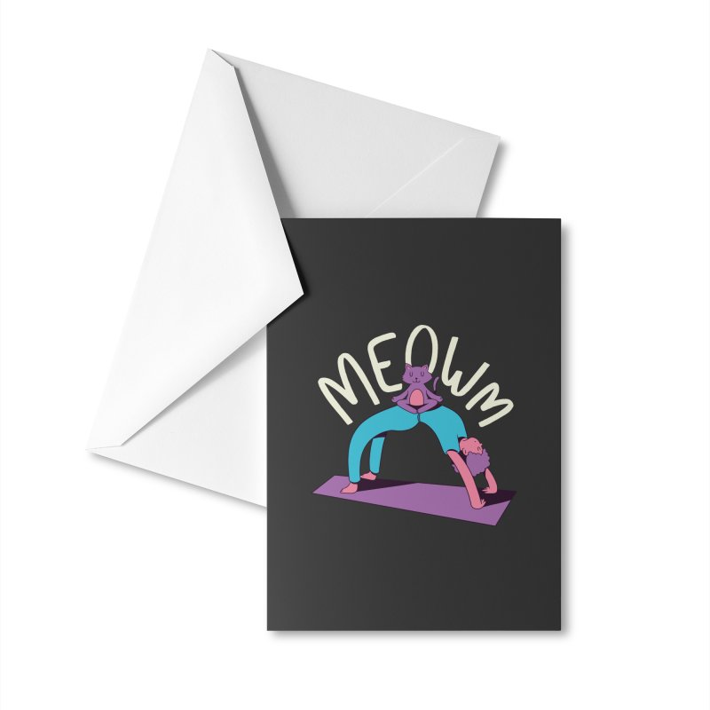 Meow Yoga Accessories Greeting Card by Purrform