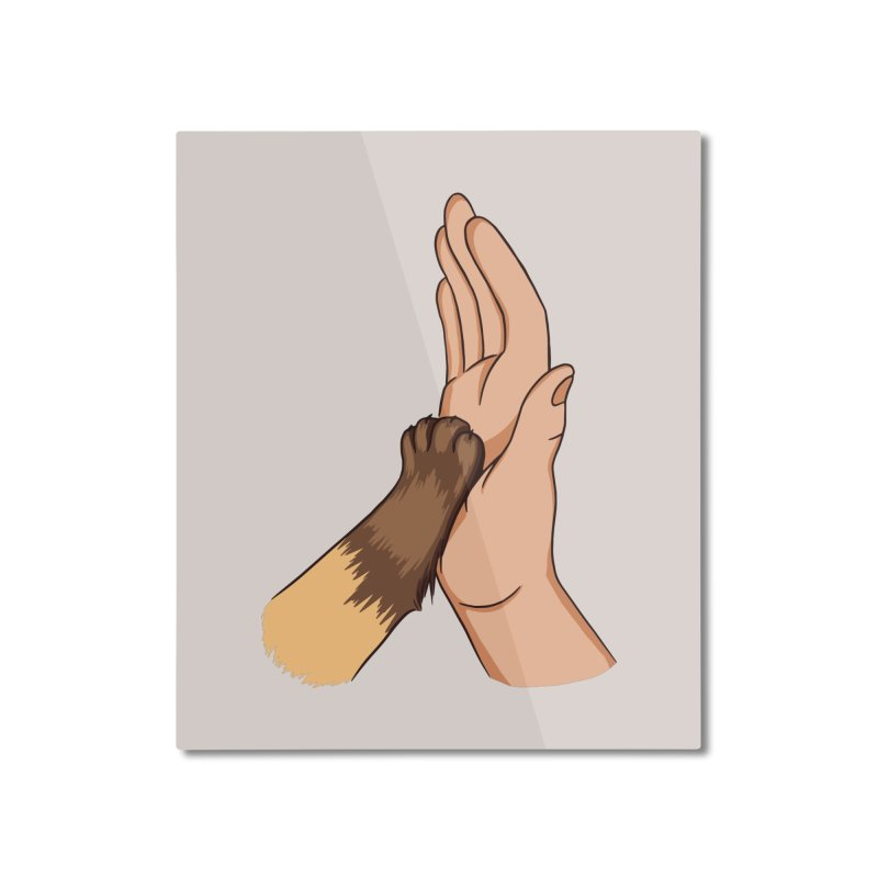 Cat High Five Home Decor Mounted Aluminum Print by Purrform
