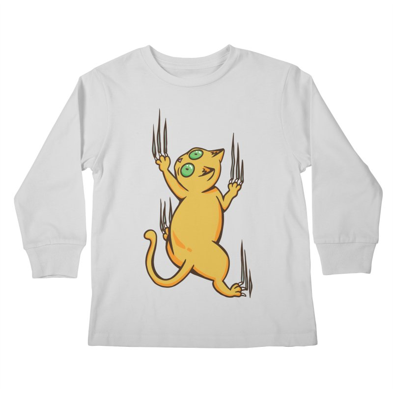 Clinging Cat Kids Longsleeve T-Shirt by Purrform