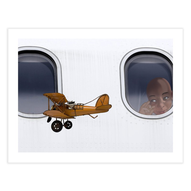 Spike the Avaitor flying past an airliner Home Fine Art Print by The Pvt Murphy Loot Shop