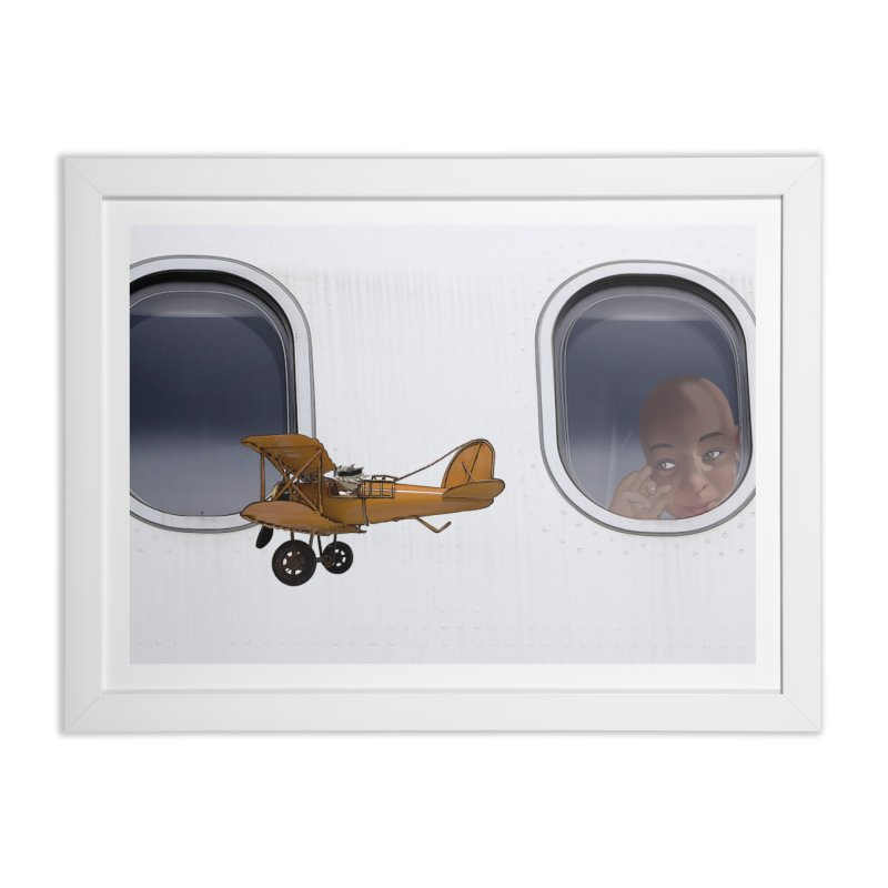Spike the Avaitor flying past an airliner Home Framed Fine Art Print by The Pvt Murphy Loot Shop