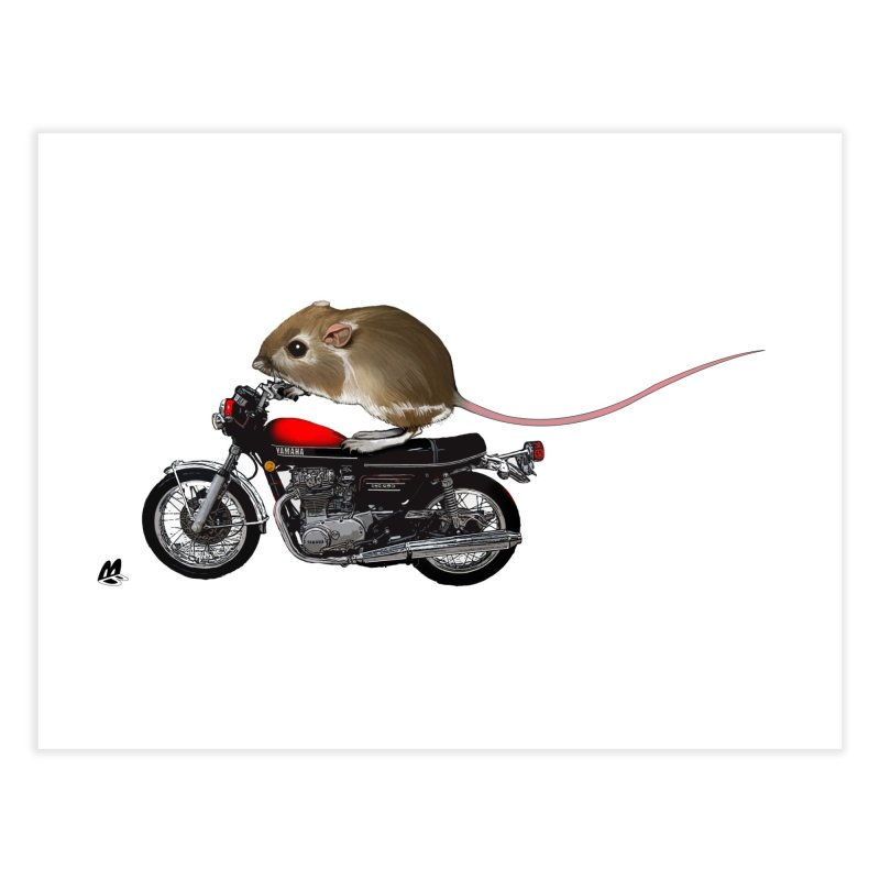 Mouse on a Motorcycle Home Fine Art Print by The Pvt Murphy Loot Shop