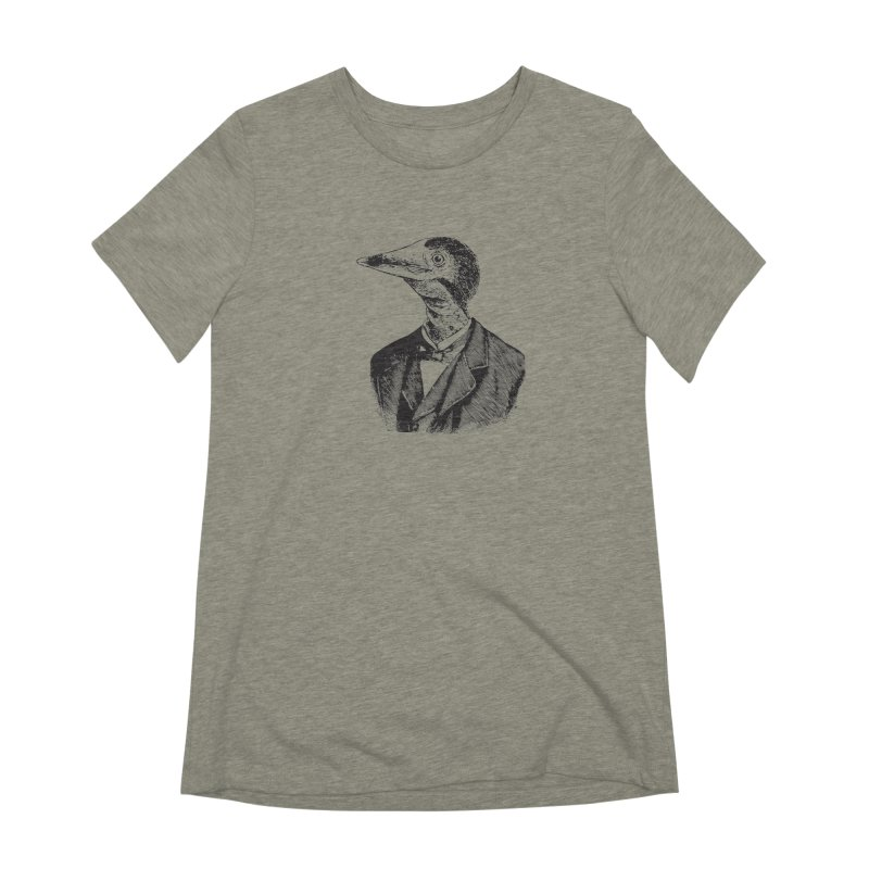 Man Bird Portrait Women's Extra Soft T-Shirt by Artist Shop of Pyramid Expander