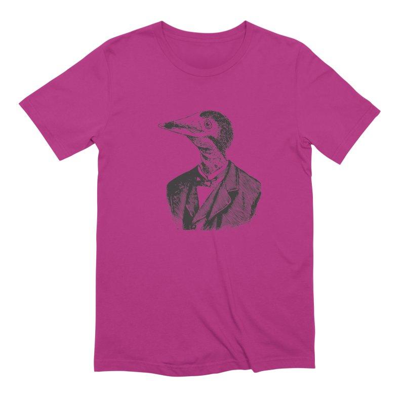 Man Bird Portrait Men's Extra Soft T-Shirt by Artist Shop of Pyramid Expander