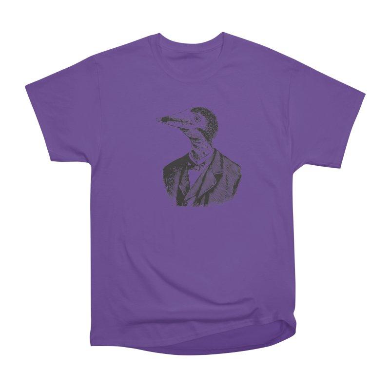 Man Bird Portrait Women's Heavyweight Unisex T-Shirt by Artist Shop of Pyramid Expander
