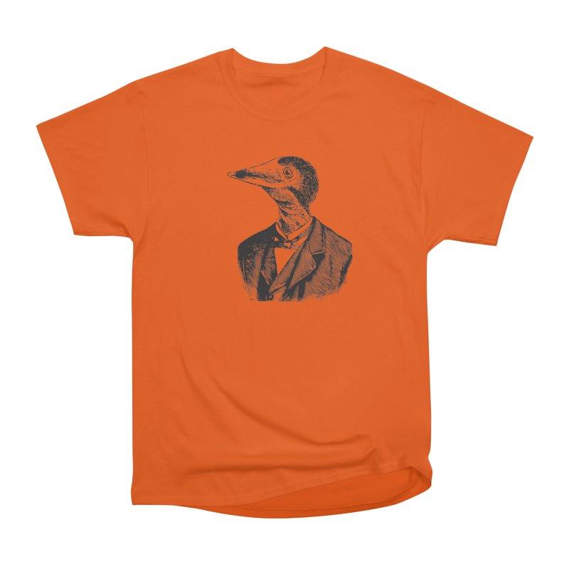 Man Bird Portrait Men's Heavyweight T-Shirt by Artist Shop of Pyramid Expander
