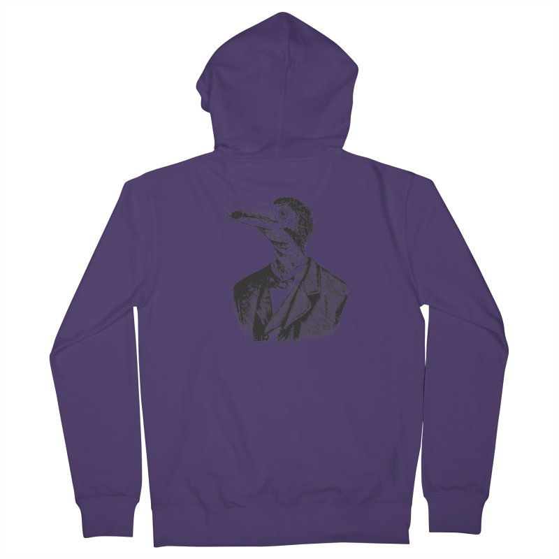 Man Bird Portrait Women's French Terry Zip-Up Hoody by Artist Shop of Pyramid Expander