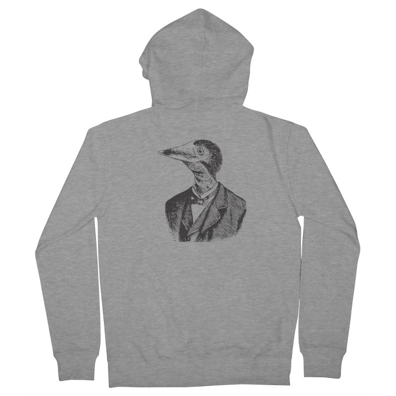 Man Bird Portrait Men's French Terry Zip-Up Hoody by Artist Shop of Pyramid Expander