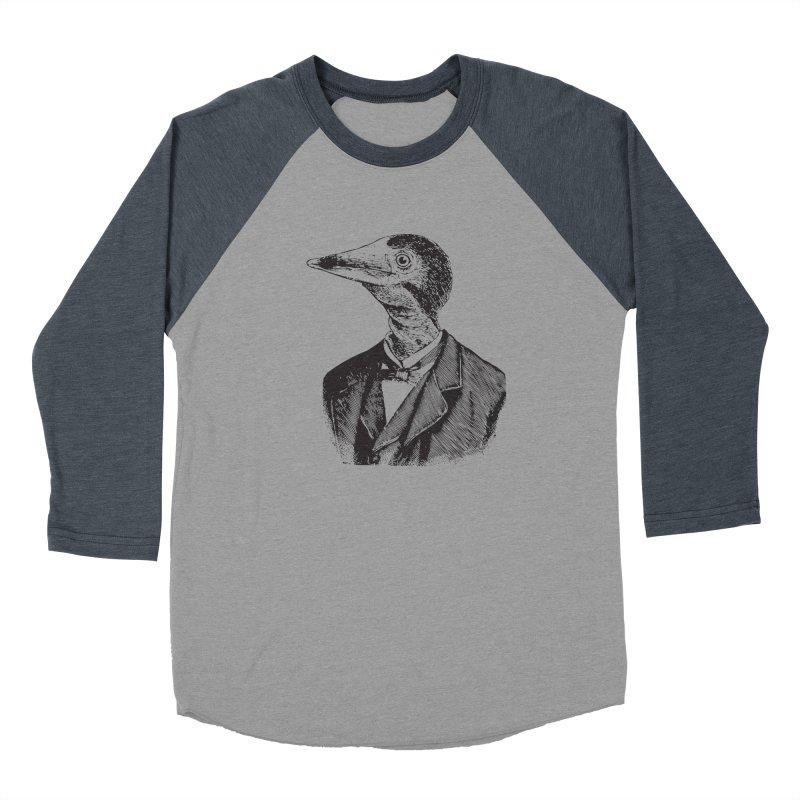 Man Bird Portrait Women's Baseball Triblend T-Shirt by Artist Shop of Pyramid Expander