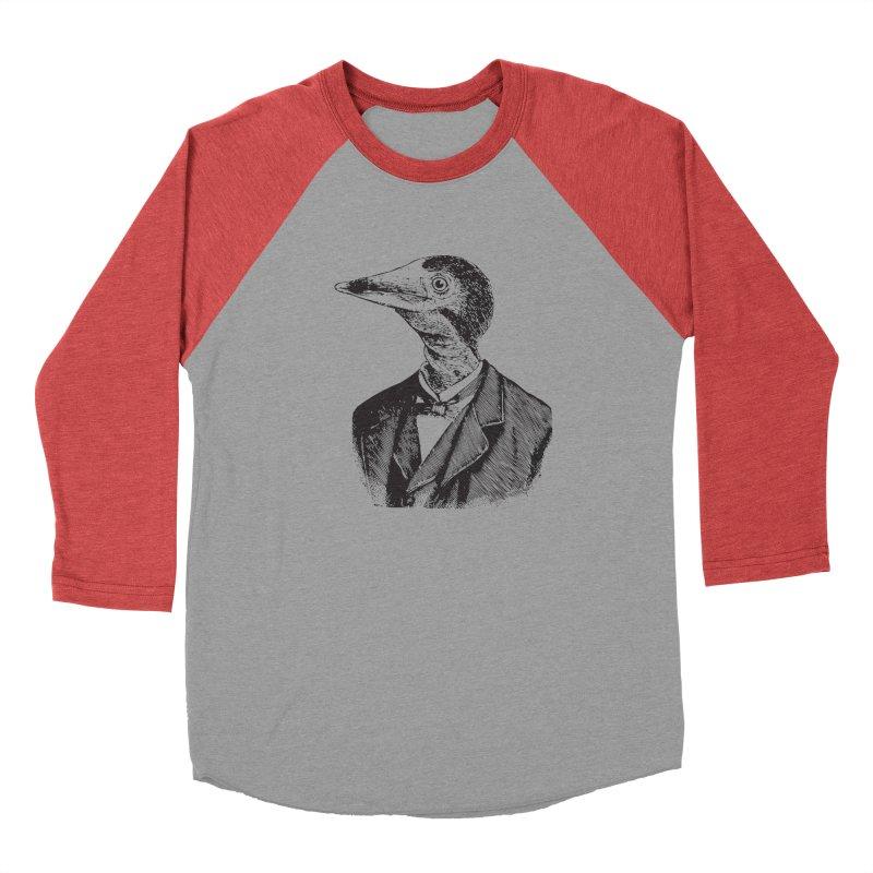 Man Bird Portrait Men's Baseball Triblend Longsleeve T-Shirt by Artist Shop of Pyramid Expander