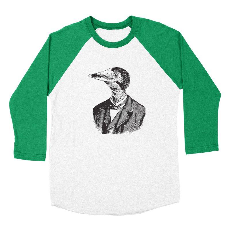 Man Bird Portrait Men's Baseball Triblend T-Shirt by Artist Shop of Pyramid Expander