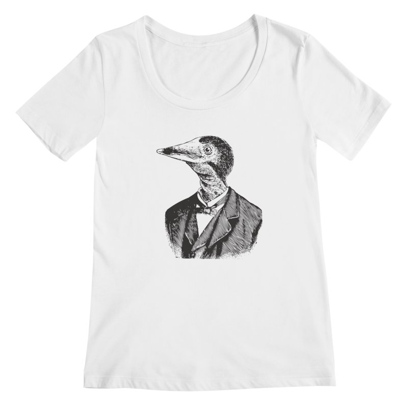 Man Bird Portrait Women's Regular Scoop Neck by Artist Shop of Pyramid Expander