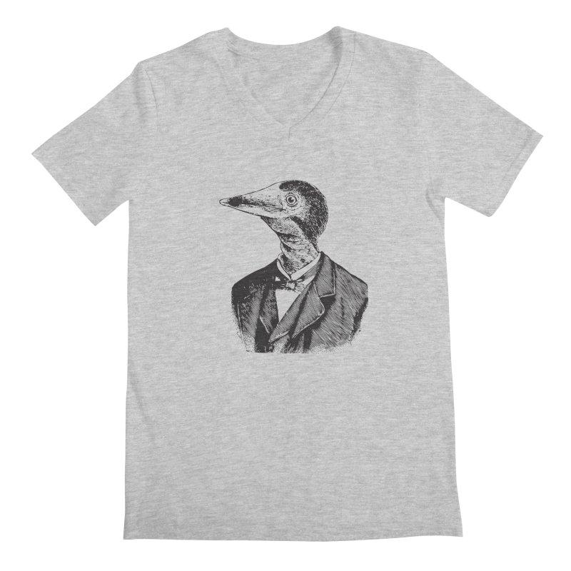 Man Bird Portrait Men's Regular V-Neck by Artist Shop of Pyramid Expander