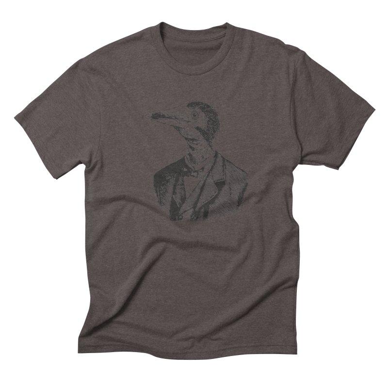 Man Bird Portrait Men's Triblend T-shirt by Artist Shop of Pyramid Expander