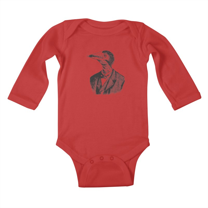 Man Bird Portrait Kids Baby Longsleeve Bodysuit by Artist Shop of Pyramid Expander