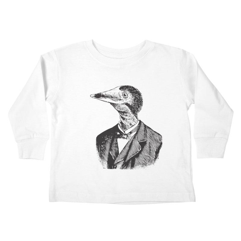 Man Bird Portrait Kids Toddler Longsleeve T-Shirt by Artist Shop of Pyramid Expander