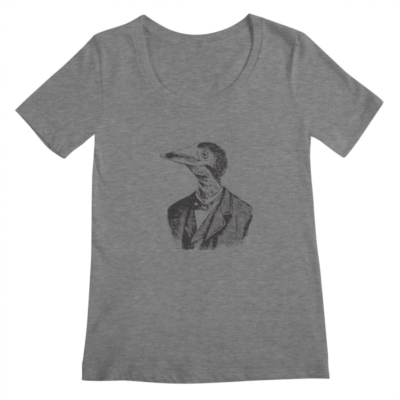 Man Bird Portrait Women's Scoopneck by Artist Shop of Pyramid Expander