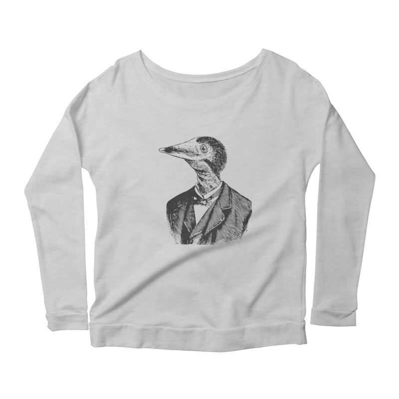 Man Bird Portrait Women's Longsleeve Scoopneck  by Artist Shop of Pyramid Expander