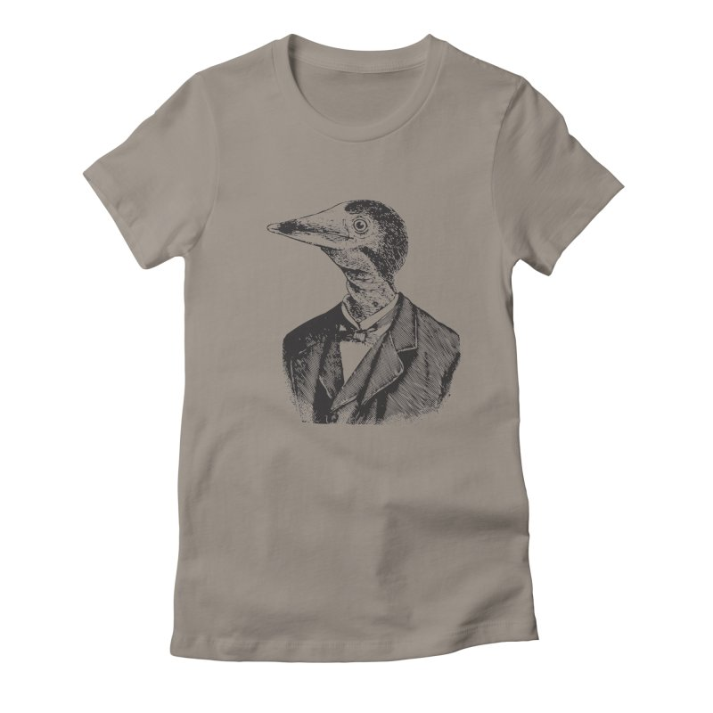 Man Bird Portrait Women's Fitted T-Shirt by Artist Shop of Pyramid Expander
