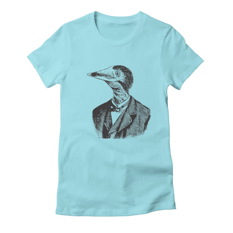 Man Bird Portrait in Women's Fitted T-Shirt Cancun by Artist Shop of Pyramid Expander