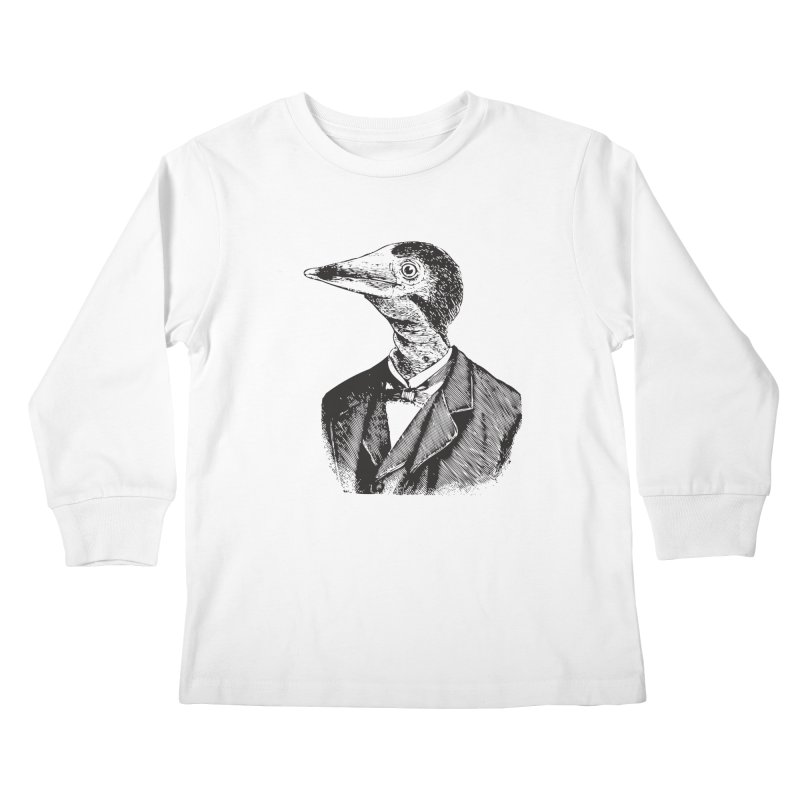Man Bird Portrait Kids Longsleeve T-Shirt by Artist Shop of Pyramid Expander