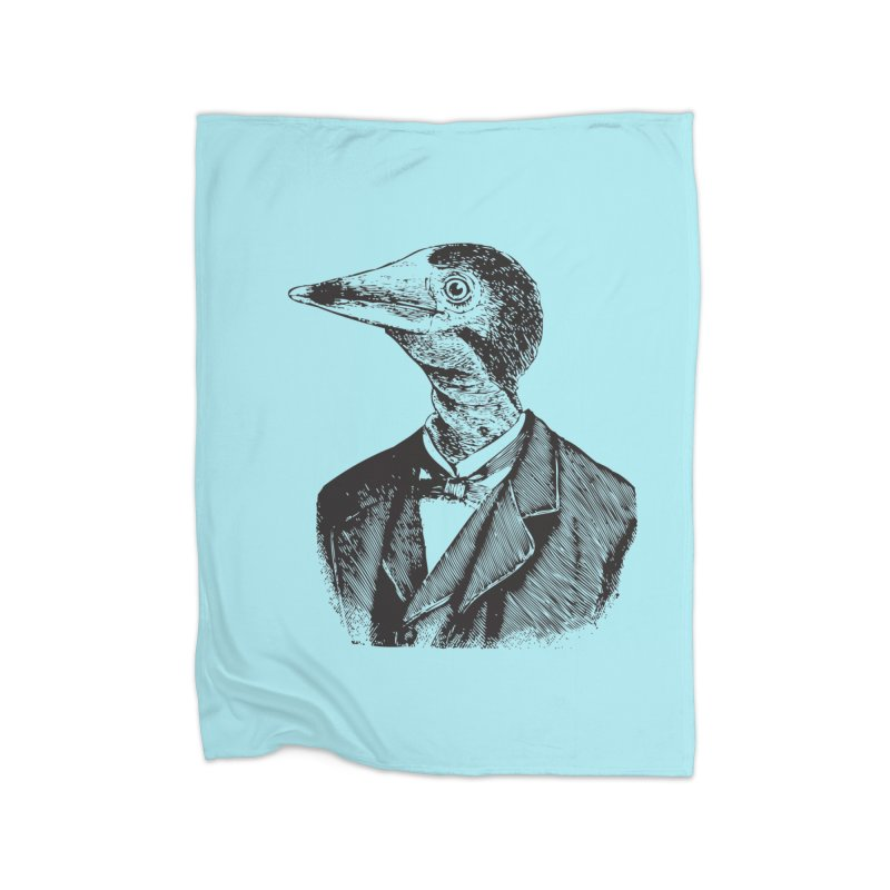 Man Bird Portrait Home Fleece Blanket Blanket by Artist Shop of Pyramid Expander