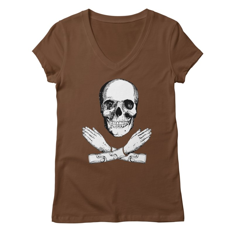 Skull and Mechanical Arms Women's V-Neck by Artist Shop of Pyramid Expander